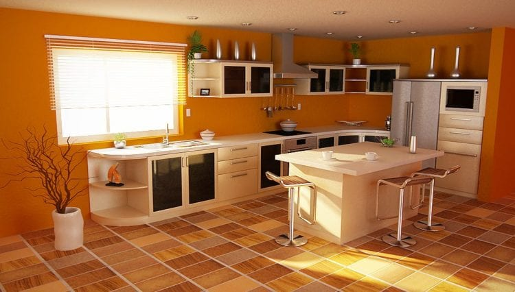 orange color kitchen
