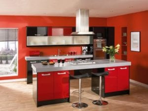 Red Kitchen Color With Romantic and Passion Style