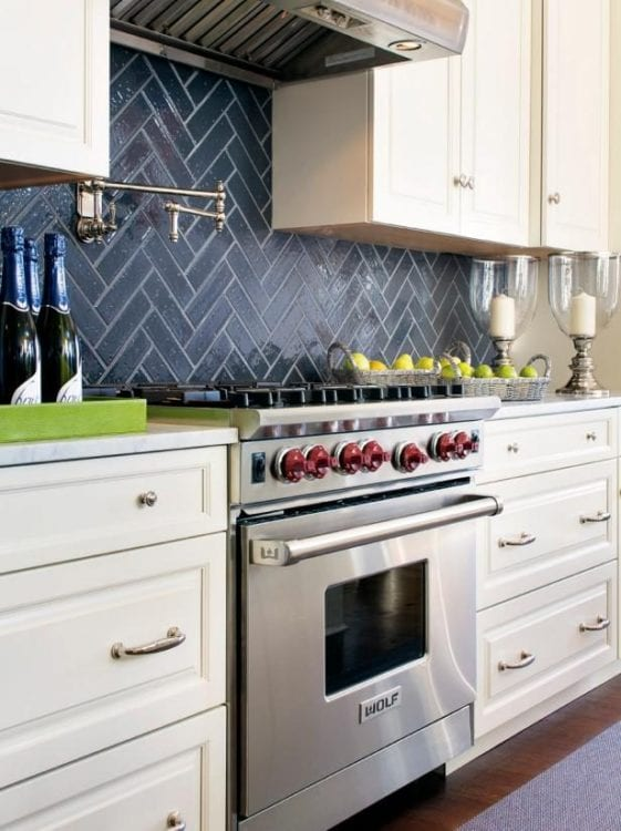 black kitchen backsplash