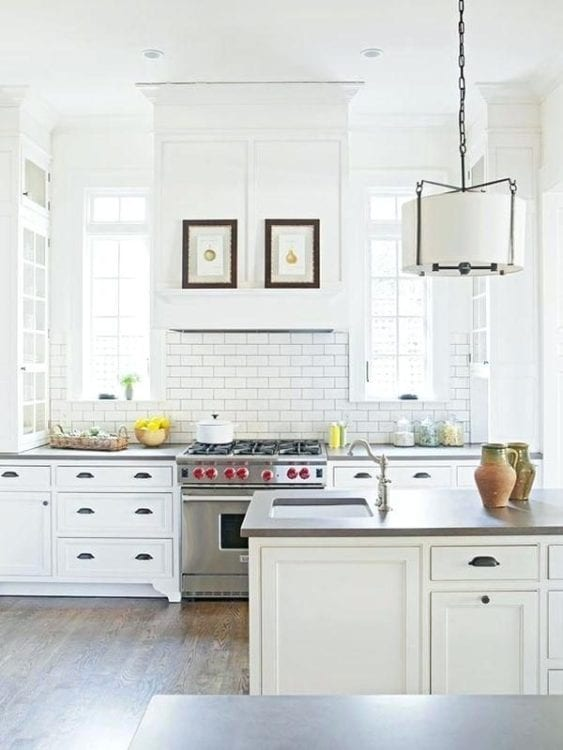 white kitchen backsplash