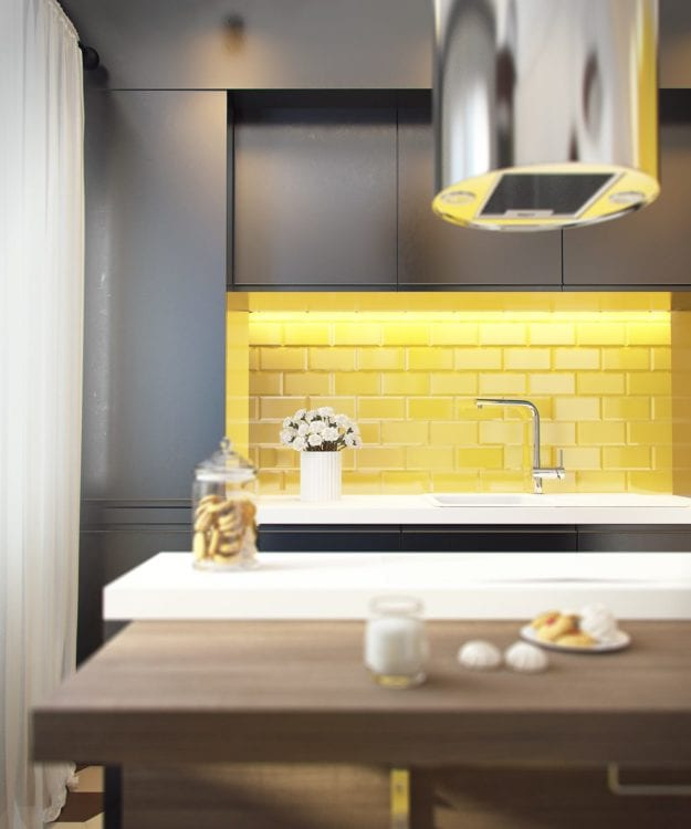 yellow backsplash