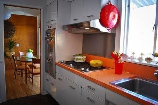 orange kitchen island