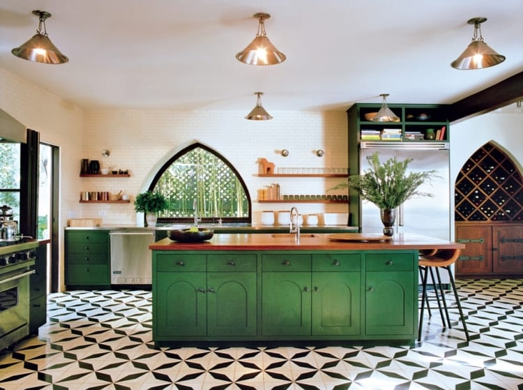 green kitchen island