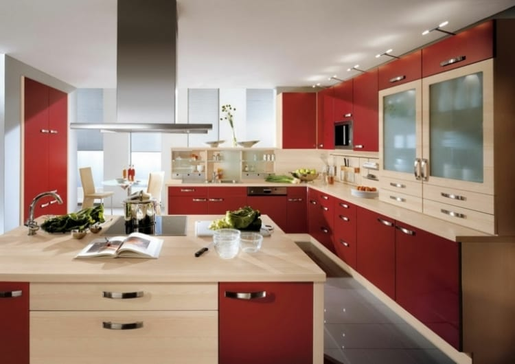 red kitchen island