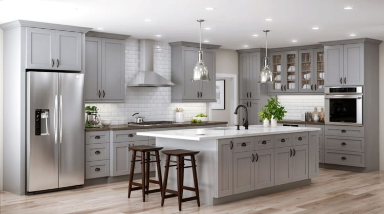 gray kitchen appliances