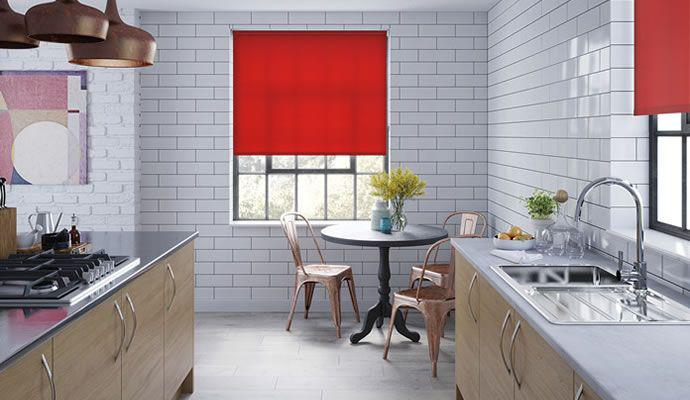 red window treatments