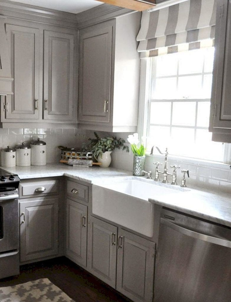 grey kitchen windowtreatments