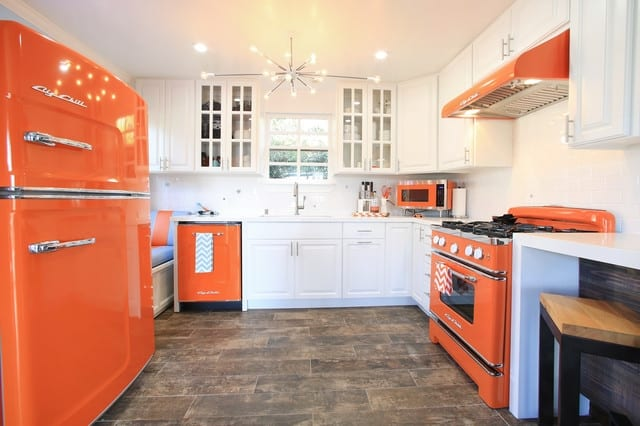 orange appliances kitchen style
