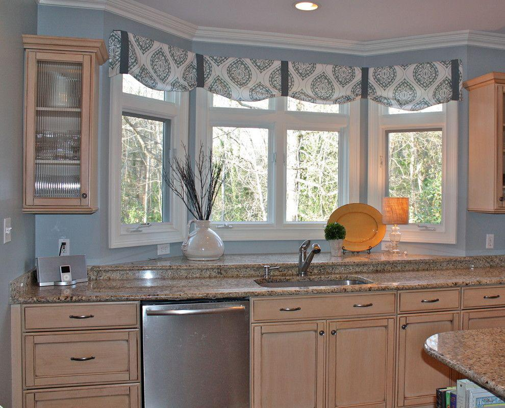 blue kitchen window treatment