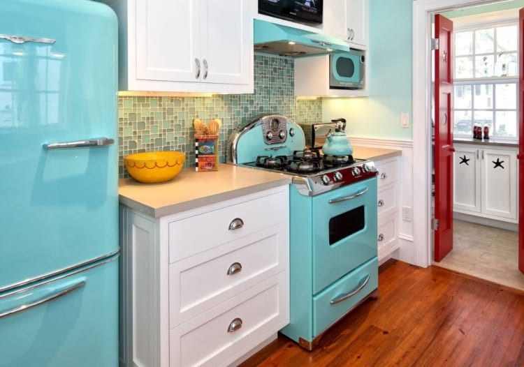blue kitchen appliances