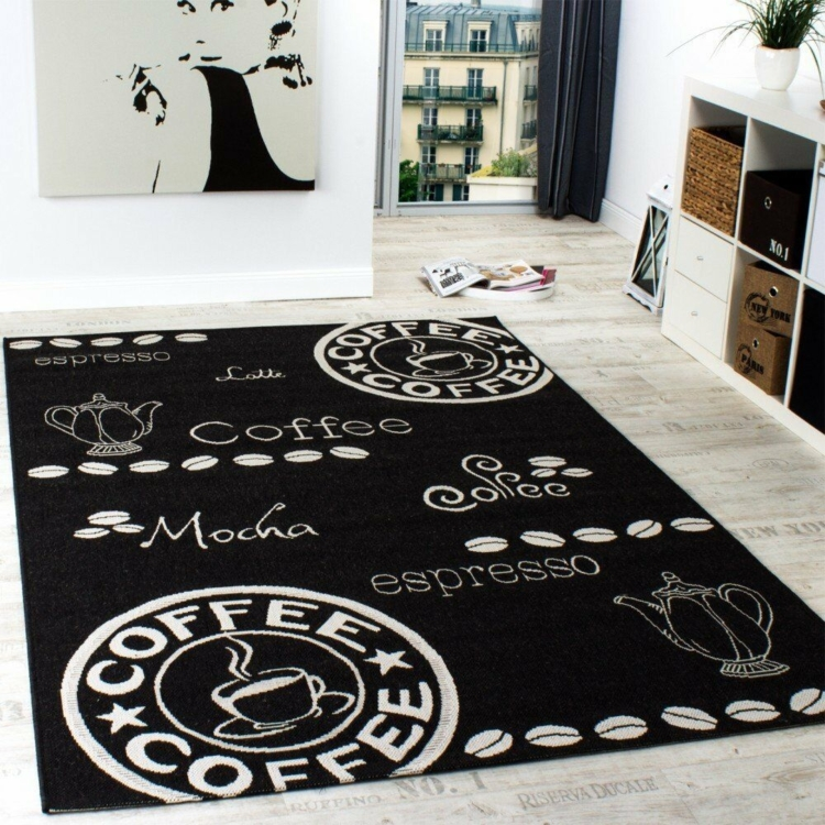 black kitchen rug