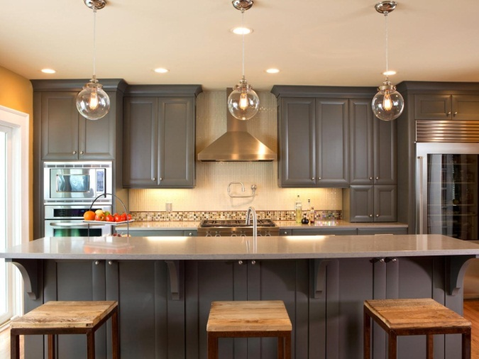 25 Homely Gray Kitchen Cabinets For