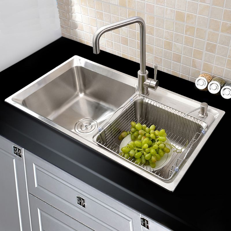 Modern Kitchen Sink 2 Bowls Brushed # 304 Stainless Steel Sink Topmount Sink (Faucet Not Included) AOM8245M | Double kitchen sink, Modern kitchen sinks, Double stainless steel kitchen sink