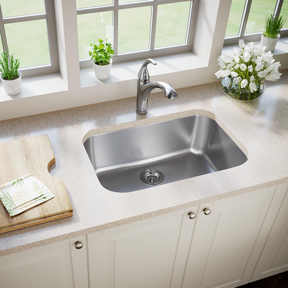MR Direct Undermount Stainless Steel 27 in. Single Bowl Kitchen Sink-2718-16 - The Home Depot