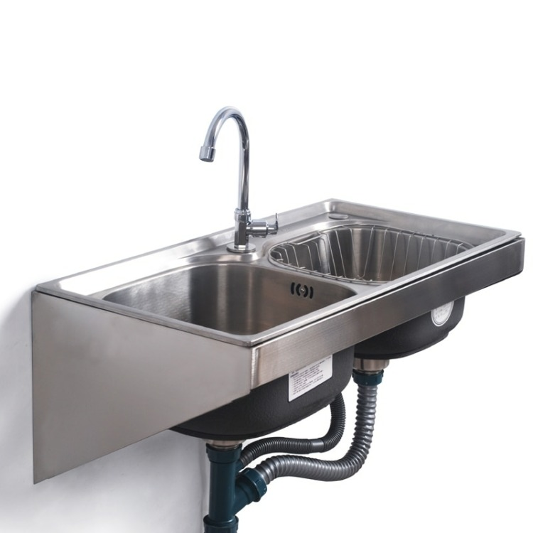Kitchen sink stainless steel wall mounted sinks with fixed bracket single/double bowl tank vegetable washing basin mx4100953|Kitchen Sinks| - AliExpress
