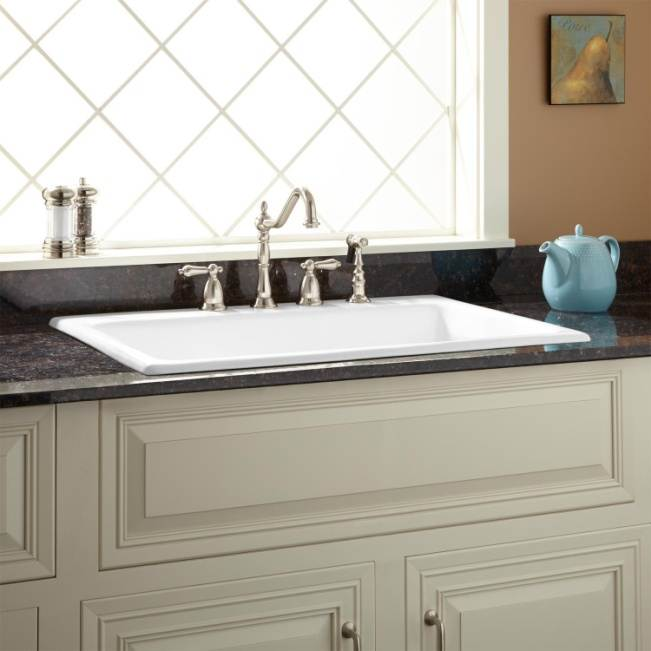 "33"" Palazzo Cast Iron Drop-In Kitchen Sink - White"
