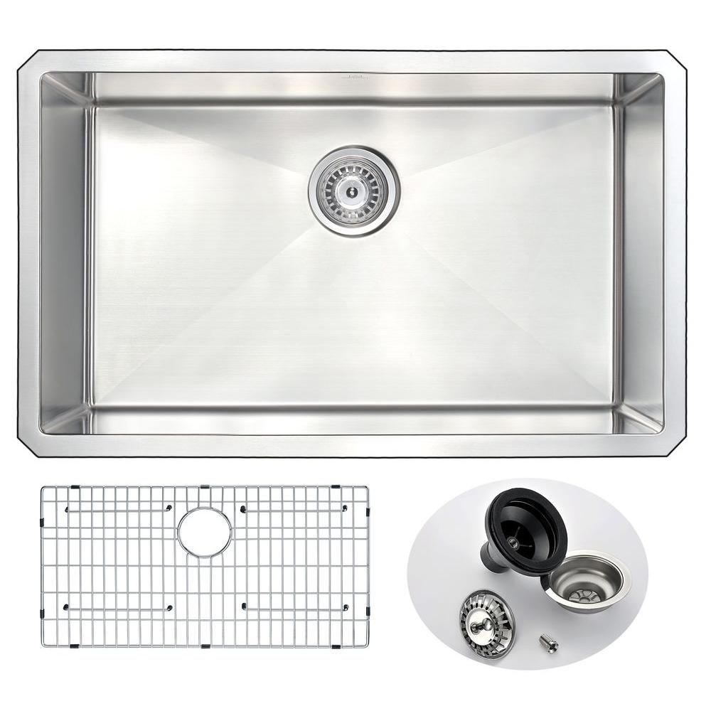ANZZI VANGUARD Series Undermount Stainless Steel 30 in. 0-Hole Single Bowl Kitchen Sink-K-AZ3018-1A - The Home Depot