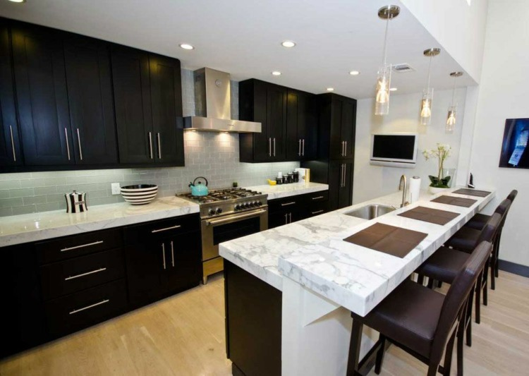 marble countertop for dark cabinet
